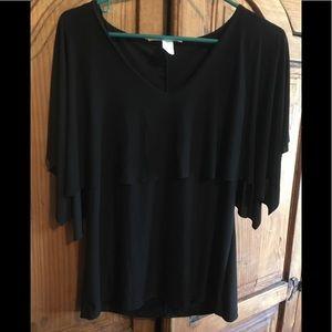 Black flowing sleeve blouse